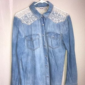 Jean and Lace button up